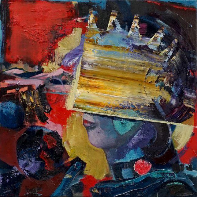 Philipp Kummer, Mainly Noise, 2020, Öl auf Leinwand, 50 x 50 cm