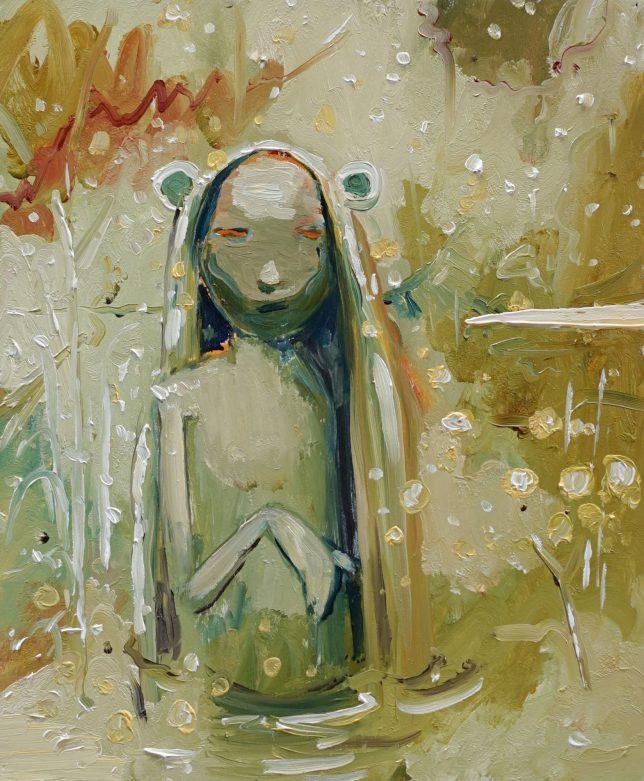 Philipp Kummer, Weicher Regen, 2020, Öl auf Holz, 30 x 25 cm