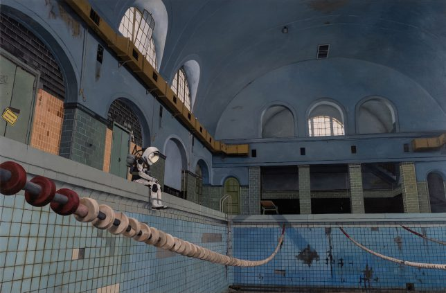 Casey McKee, Pool, 2020, C-Print, Öl auf Leinwand, 105 x 160 cm