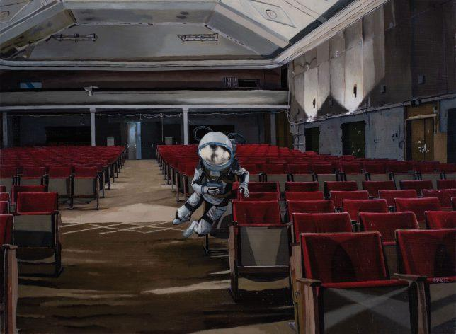 Casey McKee, Theater, 2020, photograph, oil on canvas, 34 x 47 cm
