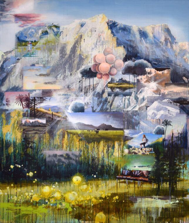 Tessa Wolkersdorfer, Mestagram Montainside, 2018, Tusche und Acryl auf Leinwand, 200 x 170 cm