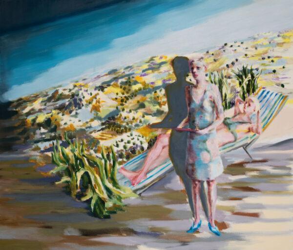 Tjark Ihmels, Als der Projektor ins Rutschen kam, 2020, Öl auf Leinwand, 120 x 140 cm