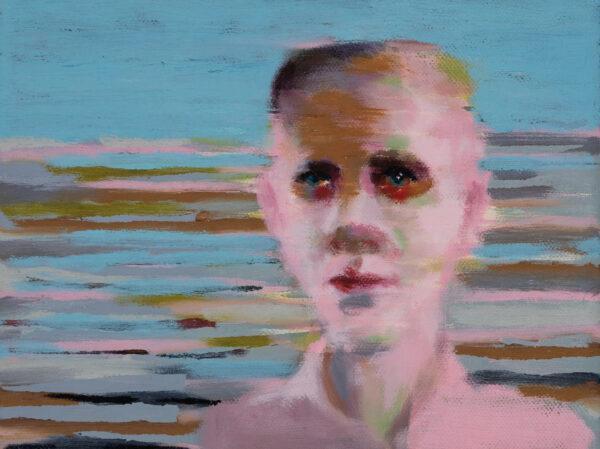 Tjark Ihmels, Portrait mit Streifen, 2020, Öl auf Leinwand, 20 x 20 cm