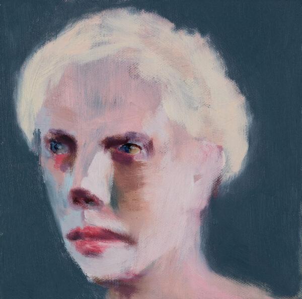 Tjark Ihmels, Blonder Mann, 2020, Öl auf Leinwand, 20 x 20 cm