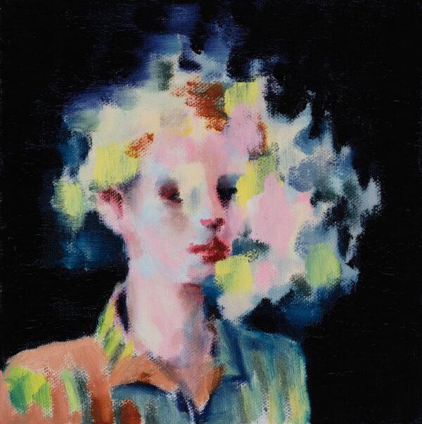 Tjark Ihmels, Portrait in Farbwolke, 2020, Öl auf Leinwand, 20 x 20 cm