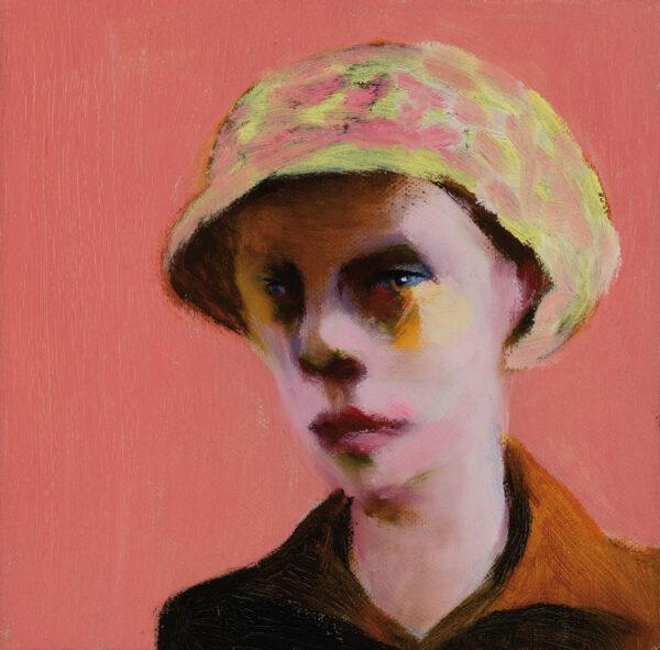 Tjark Ihmels, Portrait mit Kappe, 2020, Öl auf Leinwand, 20 x 20 cm