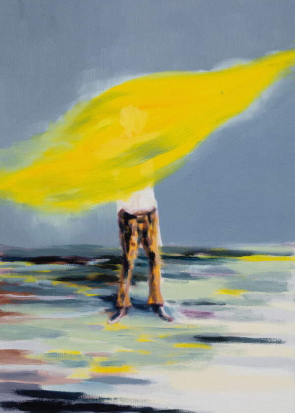Tjark Ihmels, Ich misch mir jetzt ein flottes Gelb, 2020, Öl auf Leinwand, 70 x 50 cm