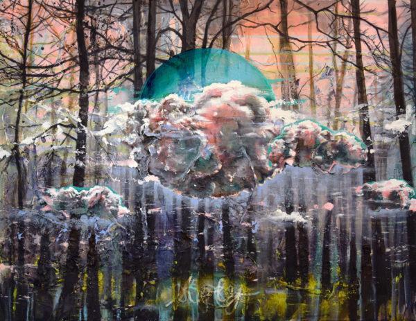 Tessa Wolkersdorfer, Holy Cloud, 2020, Acryl, Tusche auf Leinwand, 60 x 80 cm