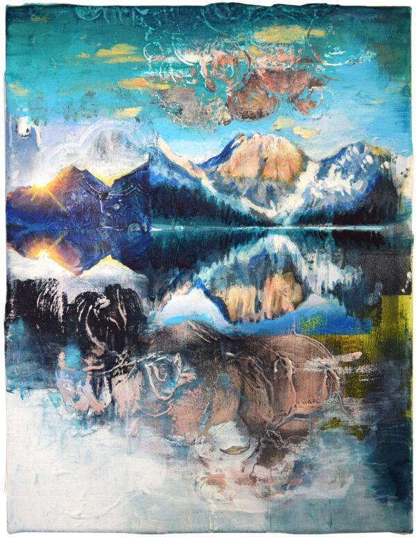 Tessa Wolkersdorfer, Mirror Mountains, 2020, Acryl, Tusche auf Leinwand, 40 x 30 cm