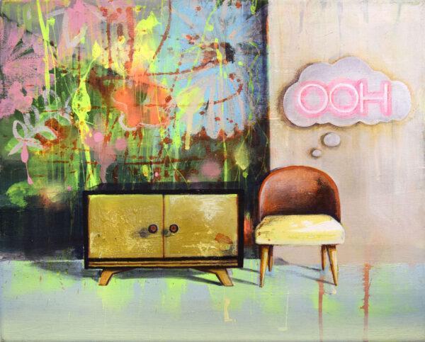 Tessa Wolkersdorfer, Ooh, 2020, Acryl, Tusche auf Leinwand, 40 x 50 cm