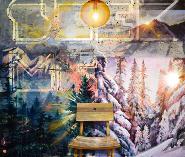 Tessa Wolkersdorfer, Seeking, 2020, Acryl, Tusche auf Leinwand, 170 x 200 cm