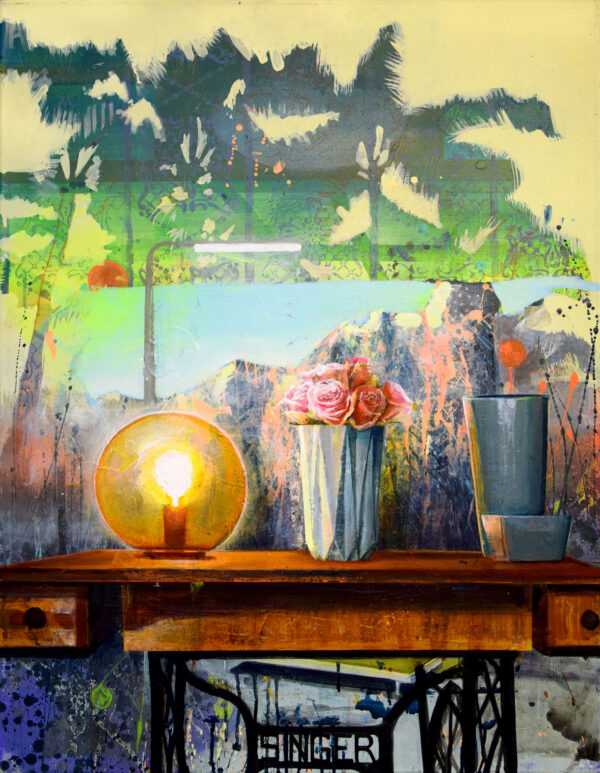 Tessa Wolkersdorfer, Sewing Machine with a View #2, 2020, Acryl, Tusche auf Leinwand, 90 x 70 cm