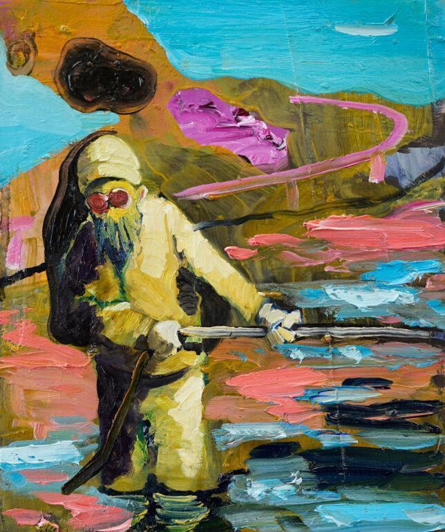 Philip Kummer, Die Vermessung, 2021, Öl auf Holz, 30 x 25 cm