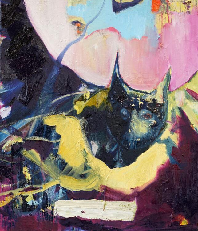 Philip Kummer, Der Protagonist, 2021, Öl auf Leinwand, 80 x 70 cm