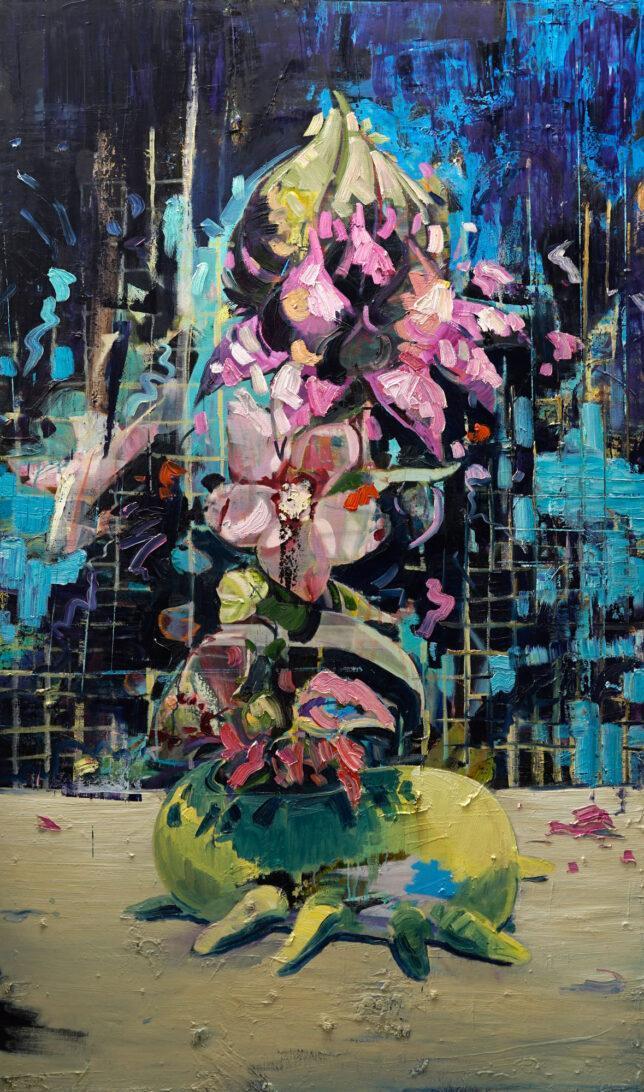Philip Kummer, Es hat gerade erst begonnen, 2021, Öl auf Leinwand, 170 x 100 cm