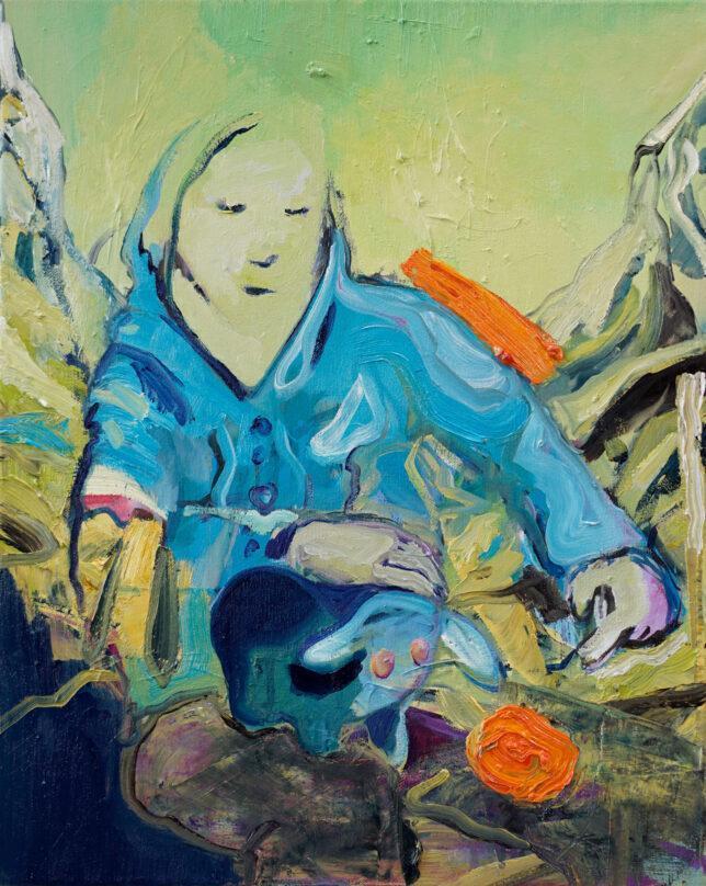 Philip Kummer, If i really took care, 2021, Öl auf Leinwand, 50 x 40 cm