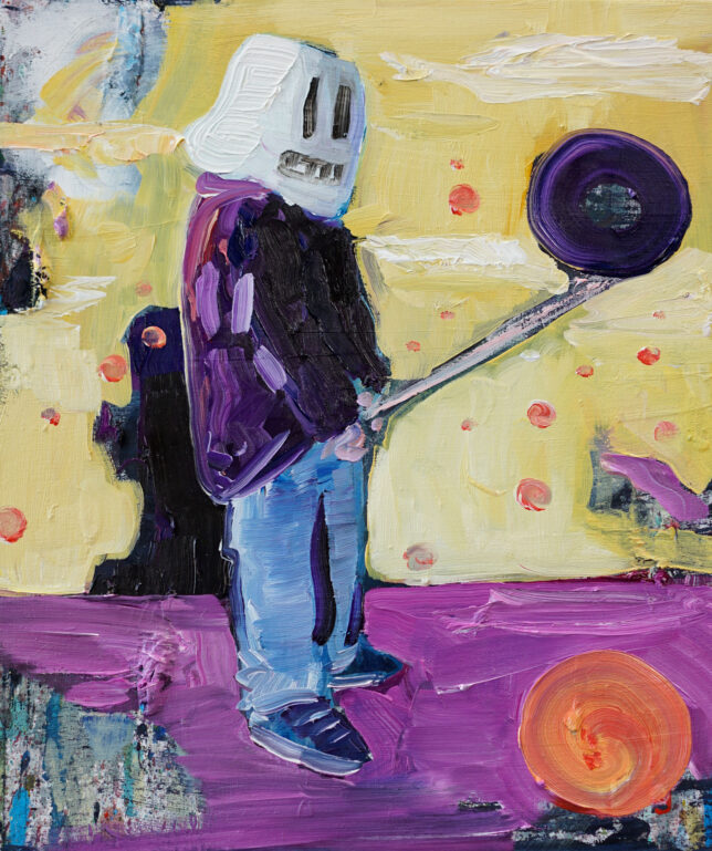 Philip Kummer, Schroedingers Feierabend II, 2021, Öl auf Leinwand, 30 x 25 cm