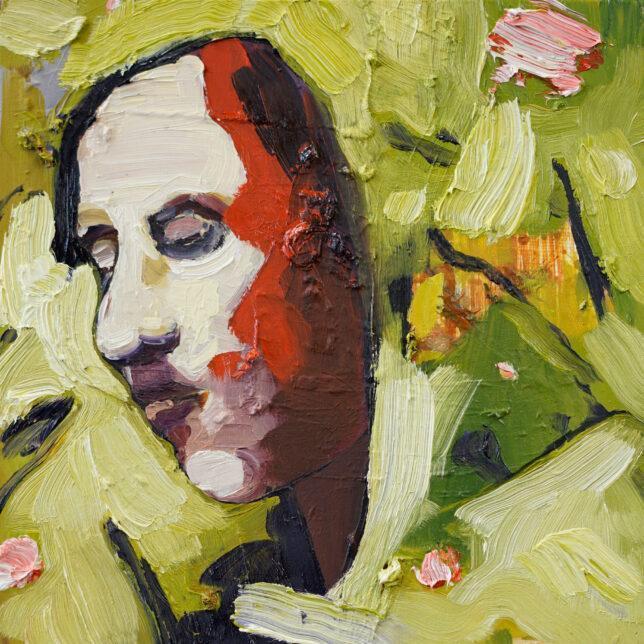 Philip Kummer, Immer am Ziel, 2021, Öl auf Holz, 25 x 25 cm