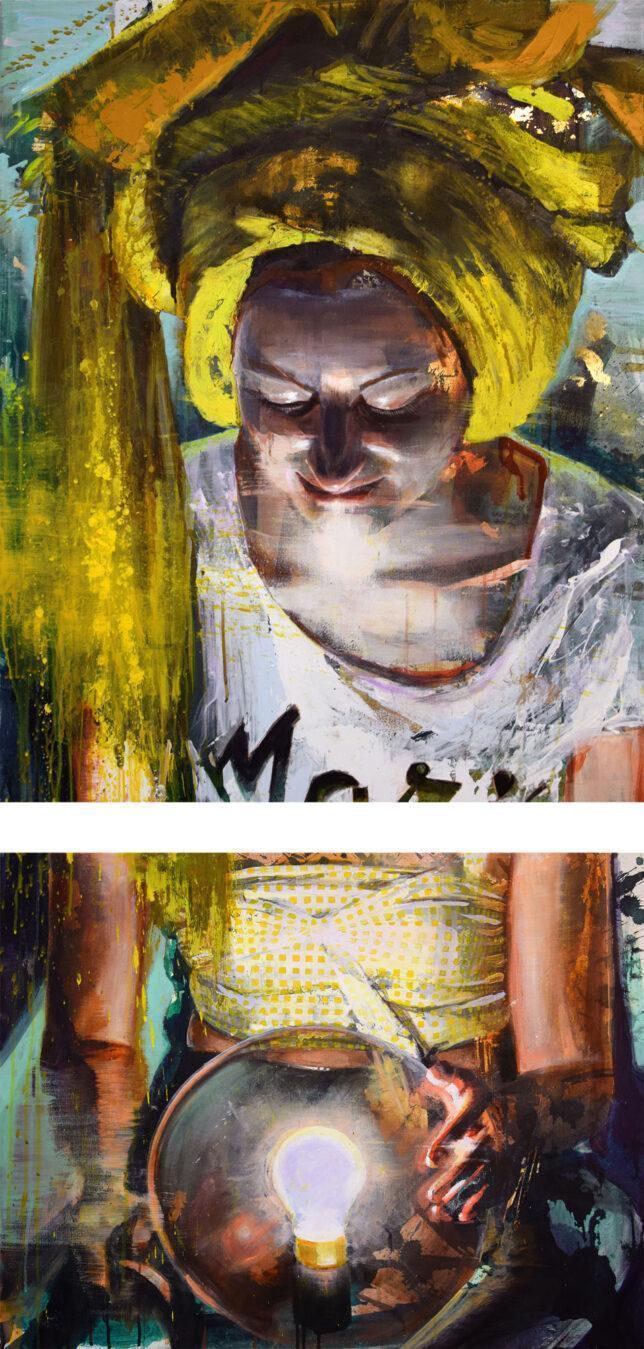 Tessa Wolkersdorfer, Darkness didn't grasp, 2021, 100 x 80 cm und 60 x 80 cm
